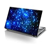 TaylorHe 15.6 inch 15 inch Laptop Skin Vinyl Decal with Colorful Patterns and Leather Effect Laminate MADE IN BRITAIN Blue Stars in Space (Color: blue, Tamaño: 15.6 Inches)