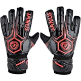 Coodoo Adult & Youth Soccer Goalkeeper Gloves with Pro Finger Protect 3.6mm Strong Grip German Latex Palm,Double Rip-Tab Strap, All Purpose Match Training, Designed for Performance(Size 8, Red) (Color: Red & Black, Tamaño: Size 8)