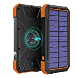 BLAVOR Solar Charger Power Bank 18W, QC 3.0 Portable Wireless Charger 10W/7.5W/5W with 4 Outputs & Dual Inputs, 20000mAh External Battery Pack IPX5 Waterproof with Flashlight & Compass (Orange) (Color: Orange)