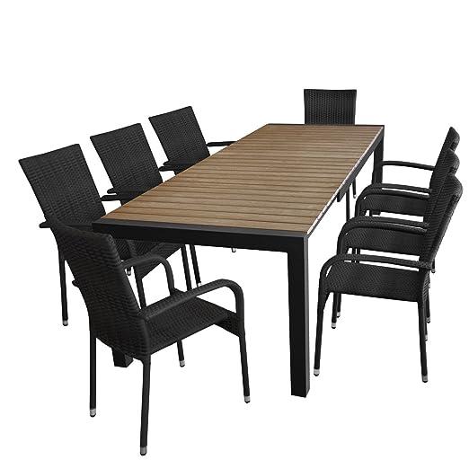 9tlg. Gartengarnitur - Gartentisch ausziehbar 205/275x100cm, Polywood Tischplatte in Braun + 8x Stapelstuhl,Polyrattanbespannung - schwarz / Sitzgarnitur Sitzgruppe Gartenmöbel Terrassenmöbel