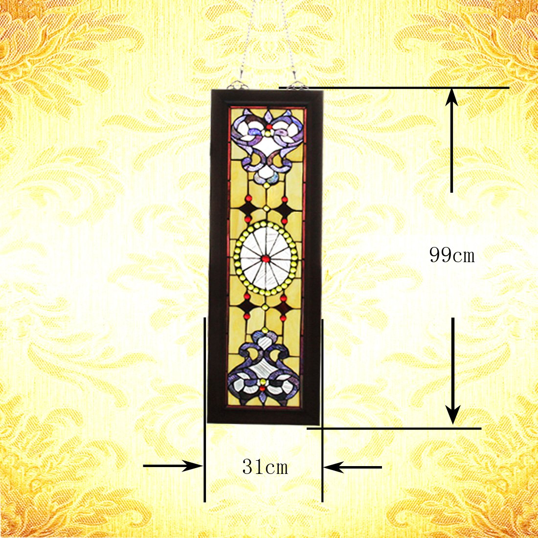 Makenier Vintage Tiffany Style Stained Church Art Glass Decorative Long and Narrow Window Panel Wall Hanging 11
