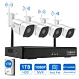[Newest] Wireless Security Camera System, Firstrend 8CH 1080P Wireless NVR System with 4pcs 1.3MP IP Security Camera and 1TB Hard Drive Pre-installed, P2P CCTV Camera System for Outdoor and Indoor Use (Color: 4pcs 960P Cams+8CH 1080P NVR(1TB HDD), Tamaño: 4 Cameras, 1TB Hard Drive)