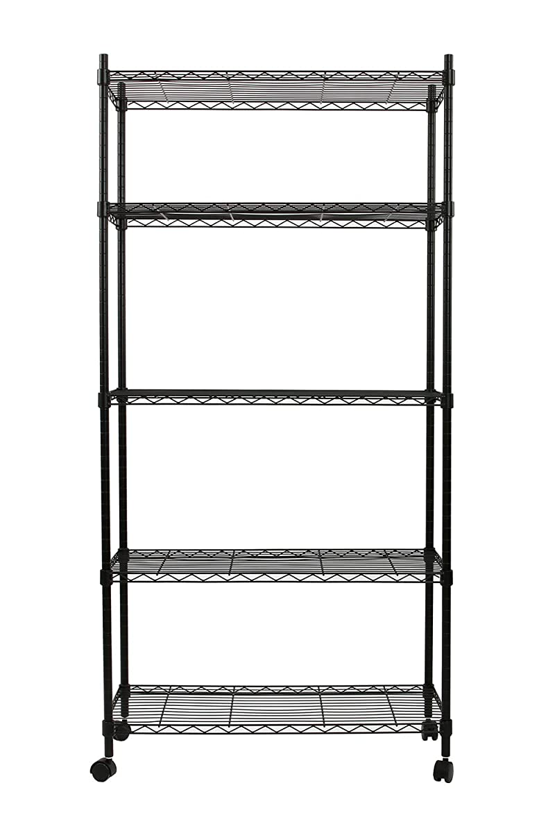 Finnhomy 5 Tier Wire Shelving Unit, Adjustable Steel Wire Rack Shelving, 5 Shelves Storage Rack with Wheels & Stable Leveling Feet, Black