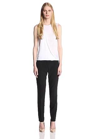 Theory Women's Listree Draped Linen Jersey Top, White, Petite