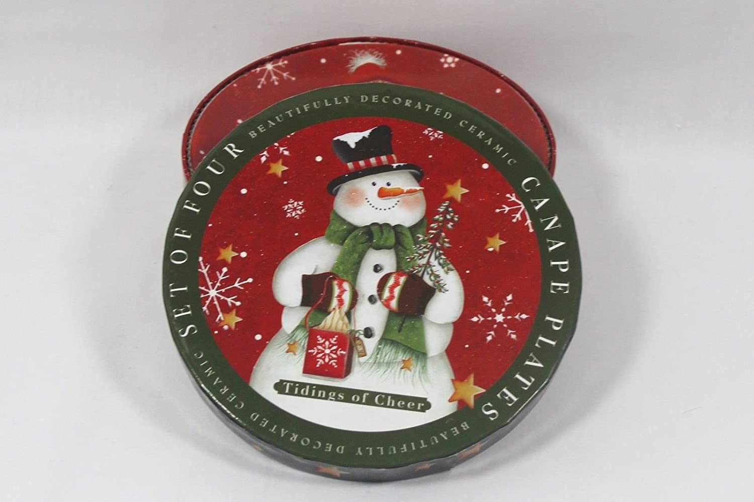 Snowman bread and butter appetizer canape plates for Christmas canape plates