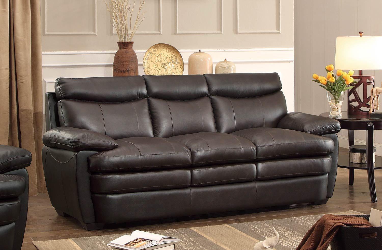 Homelegance Rozel Sofa In Dark Brown Genuine Top Grain Leather Match