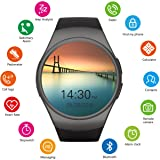 Getfitsoo KW18 Round Color Screen Smart Bracelet Fitness Tracker Watch with Heart Rate Moniter,IP67 Waterproof Pedometer Anti-Lost Music Alarm Clock Stopwatch Fitness Wristbands for Smarphon (Black) (Color: Black)