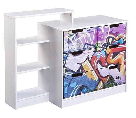 Links - Murales a2 libreria 4cassetti. Dim. 107x40,3x83h cm. Pino massello. Patchwork + bianco.
