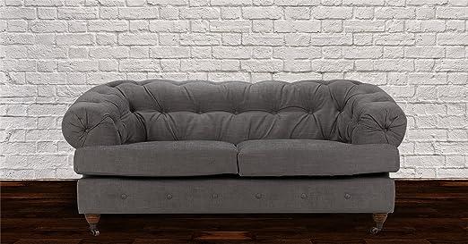 Lovesofas New Mayfair Chesterfield 2 Seater Linen Sofa - Light Grey