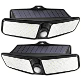 Solar Motion Sensor Light with 100 LEDs, Upgraded PIR Detective System, Auto On/Off, IP65 Waterproof, Long Battery Life, Easy-to-Install, Ideal for Garden, Garage, Yard (2-Pack) (Color: Black)