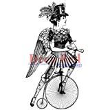 Deep Red Stamps Steampumk Lady Cyclist Rubber Stamp (Tamaño: 2.2