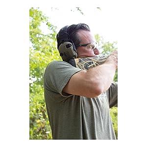 Walker's Razor Slim Electronic Shooting Hearing Protection Muff (American Flag Distressed, Tan) (Color: American Flag Distressed Tan)