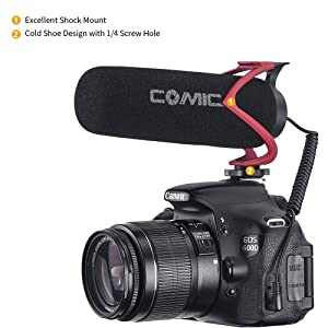 Comica CVM-V30 LITE Video Microphone Super-Cardioid Condenser On-Camera Shotgun Microphone for Canon Nikon Sony Panasonic Camera/DSLR/iPhone Samsung Huawei with 3.5mm Jack(Red) (Color: CVM-V30 LITE R)