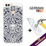 Huawei P Smart Cover Gel Flexible, [ +1 Tempered Glass Screen Protector ], TPU German Tech Case made of Silicone, protects your Smartphone, with our exclusive designs - Aztec Calendar.