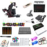 Getbetterlife Pro Beginner Tattoo Kit 1 Machine Gun 10 color Inks Power Supply 50 Needles Sets