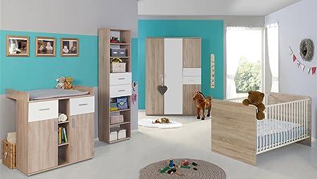 Babyzimmer / Kinderzimmer komplett Set ELISA 4 in Eiche Sonoma Weiß, Komplettset mit grossem 3-turigen Kleiderschrank Babybett Lattenrost Wickelkommode Wickelaufsatz Standregal, Made in Germany