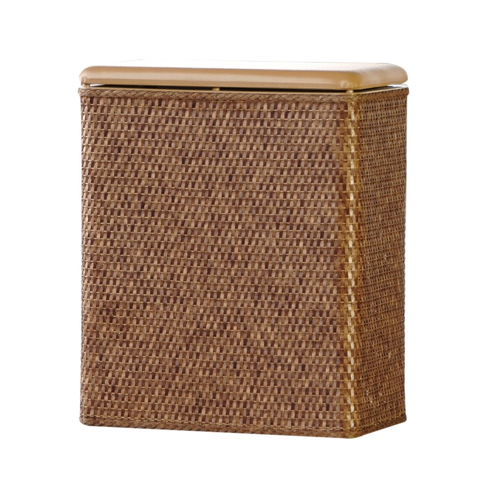 Padded wicker hamper upright bathroom clothes sorter storage bin laundry basket - Rattan laundry hamper ...