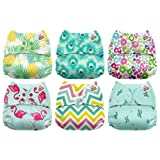 Mama Koala One Size Baby Washable Reusable Pocket Cloth Diapers, 6 Pack with 6 One Size Microfiber Inserts (Aloha) (Color: Aloha)