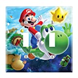Dual Toggle Wall Switch Cover Plate Decor Wallplate - Super Mario Galaxy Yoshi (Color: Multicolored, Tamaño: Midway)