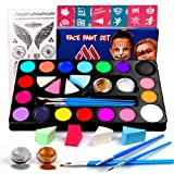 Miserwe Safe Non-Toxic Face Painting Kit-18 Colors,40 Stencils,1 Silver Sticker,2 Glitter Powder,4 Brushes, 4 Sponge Kit Professional Washable Body & Face Painting Kits for Kids Adult