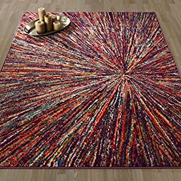 Ottomanson Rainbow Collection Non-Slip Modern Multicolor Abstract Firework Design 5\'0\