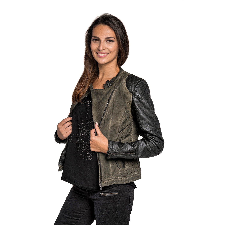 Maze Damen Herbst Winter Übergangs Biker Style Jacke Kunst- Lederärmel Bel Air bestellen