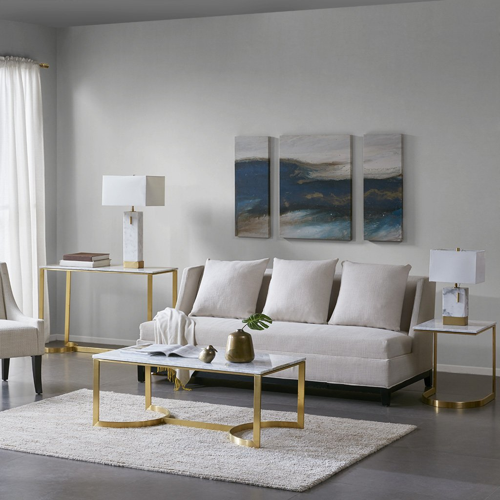 Madison Park MP120-0401 Rockport Accent Rectangular Marble Tabletop with Fancy Metal Gold Base Modern Luxurious Design Coffee Table 44 Inch Wide