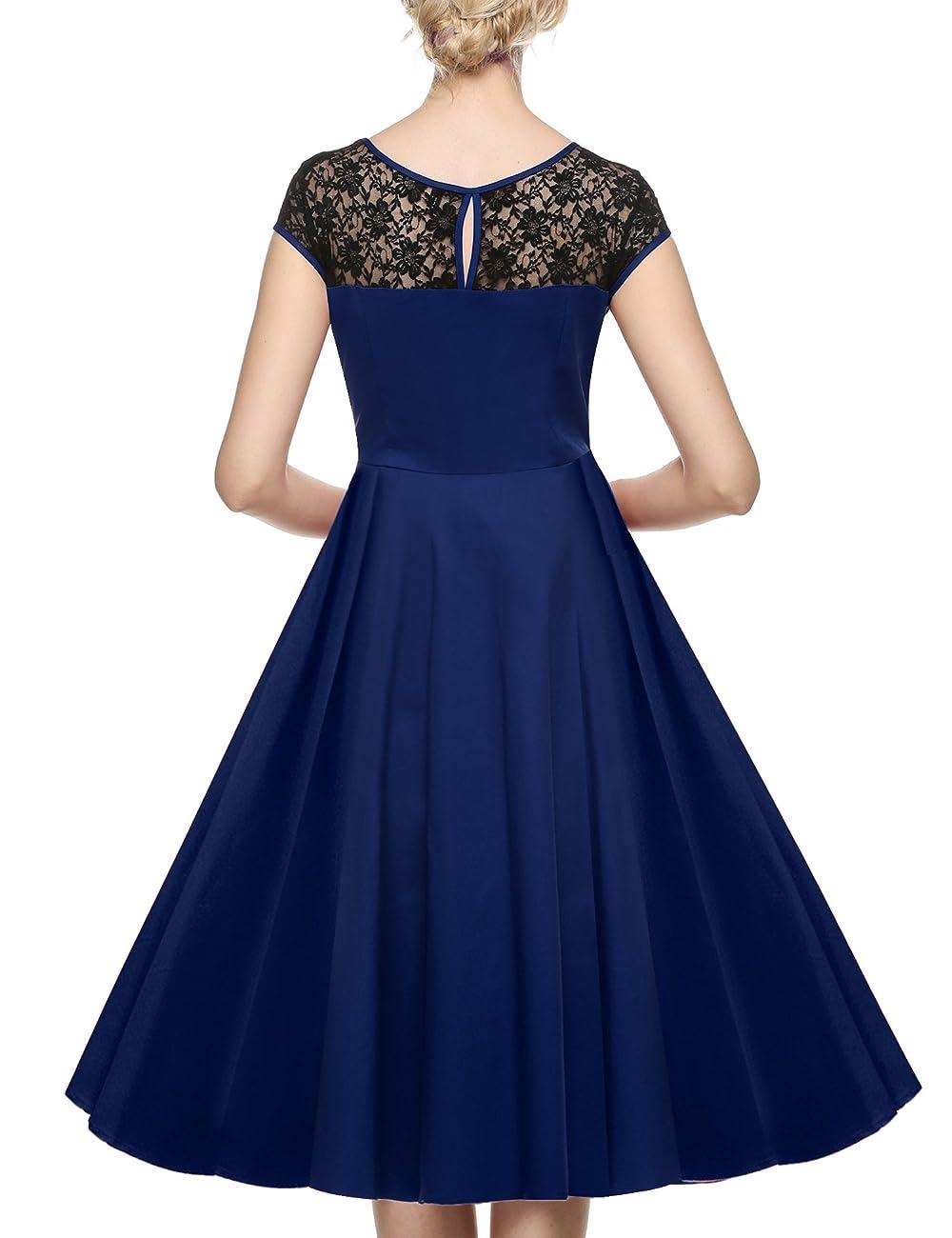 ACEVOG Women's Lace Crochet Sleeveless Cotton Vintage Tea Dress 1