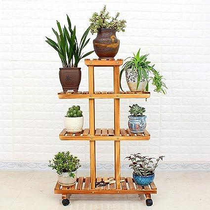 Massivholz Multilayer Blumenständer Balkon Wohnzimmer Grun Rettich Boden Typ Holztopf Rack Indoor Blumen Regal Rad Mit Rädern Beweglich