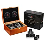 Whiskey Stones Gift Set-Dice Engraved Whiskey Stones-10oz Scotch Glasses-Best Gifts for Men-Whiskey stones with Glass Set for Man Cave Accessories -Scotch Whiskey Chills Perfectly with Cool Dice Rocks (Color: Brown)
