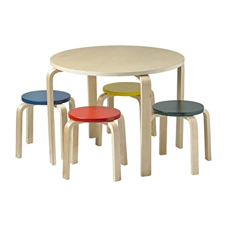 ECR4Kids Bentwood Table & 4 Stools Set by ECR4Kids