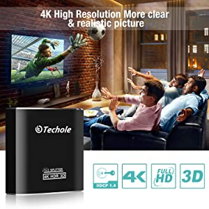 HDMI Splitter 1 in 2 Out - Techole 4K Aluminum Ver1.4 HDCP, Powered HDMI Splitter Supports 3D 4K@30HZ Full HD1080P for Xbox PS4 PS3 Fire Stick Roku Blu-Ray Player Apple TV HDTV - Cable Included (Tamaño: HDMI Splitter)