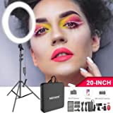 Neewer 20-inch LED Ring Light Kit for Makeup YouTube Video Blogger Salon - Adjustable Color Temperature with Battery or DC Power Option, Battery, Charger, AC Adapter, Phone Clamp and Stand Included (Tamaño: 20 inch-White)