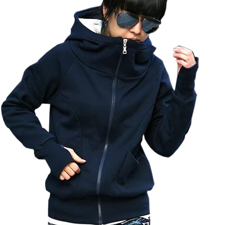 Finejo Women's Hoodie Fleece Jacket - Size (Asian M(US S)) Color (Dark Blue) at Sears.com