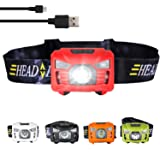 three trees Sensor Headlamp LED Headlight Waterproof,Shockproof Headlight 4 Modes Up to 200 Lumens Bonus Batteries & Reflective Band. Best Running, Biking, Camping, Fishing, Hiking (red) (Color: red, Tamaño: Small)