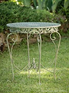Gartentisch Tisch Garten Schmiedeeisen Eisen Metall Antik Stil Grun
