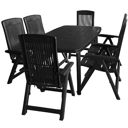 7tlg. Balkonmöbel Kunststoff Gartentisch 138x87cm 6x Klappsessel 5-fach verstellbar Anthrazit Sitzgruppe Sitzgarnitur