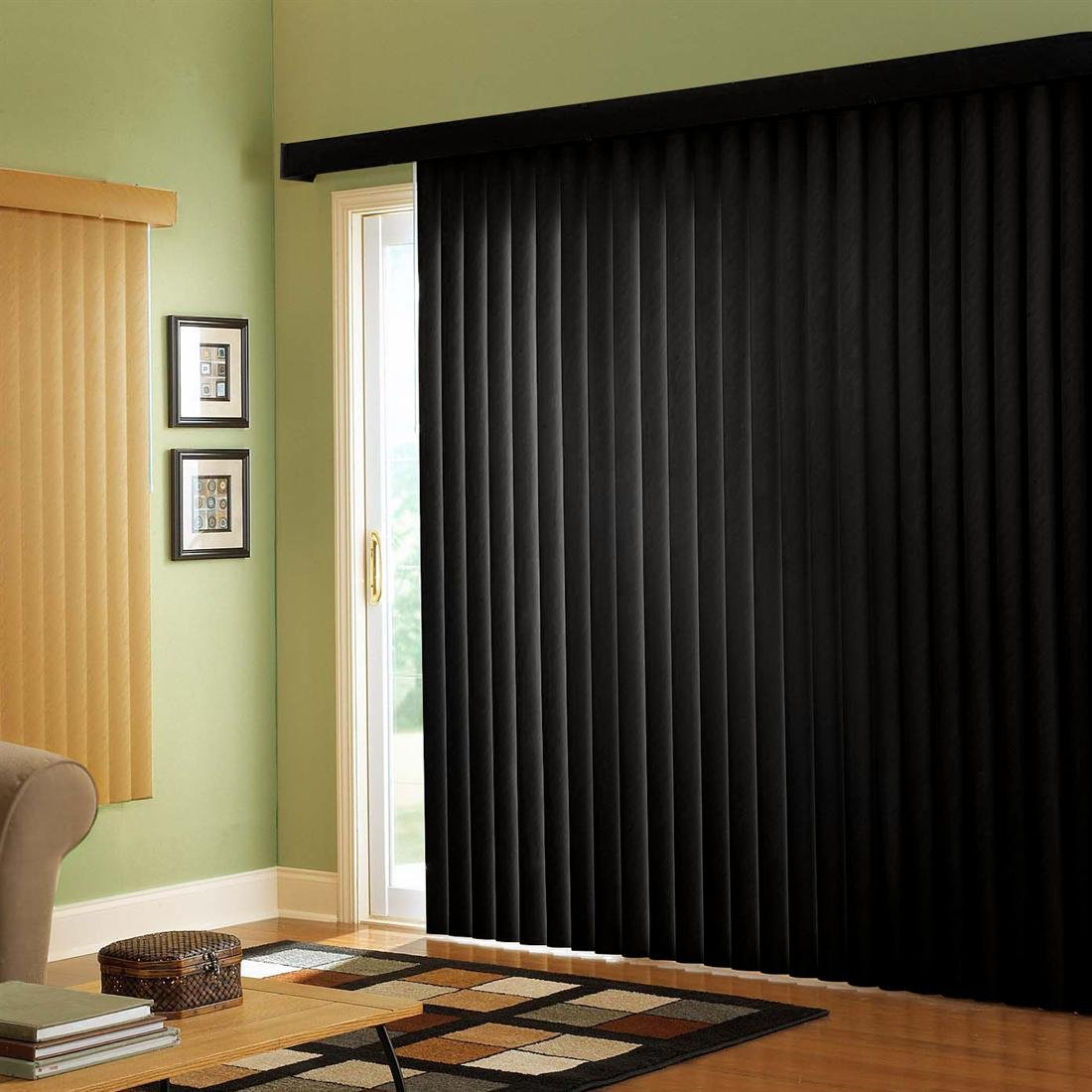 Black vertical blinds 2017 grasscloth wallpaper for Black sliding glass doors