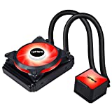 upHere High Performance Water Liquid CPU Cooler with Adjustable 120mm PWM Fan,Red LED (AM4 Compatible) CC1201 (Color: CC1201 RED, Tamaño: 120mm)