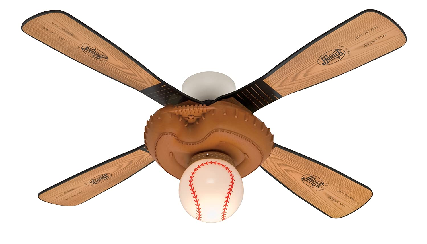 Baseball 44-Inch Single Light 4-Blade Ceiling Fan