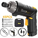 Electric Screwdriver, 6Nm TECCPO Cordless Screwdriver, 4V 2000mAh Li-ion, with 45 Free Accessories, 9+1 Torque Gears, Adjustable 2 Position Handle with LED, USB Rechargeable - TECCPO TDSC01P (Color: Electric Screwdriver 45PCS)
