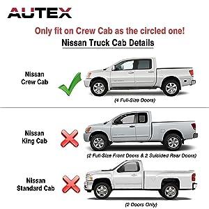 AUTEX 4Pcs Tape On Window Visor Compatible with Nissan Frontier Crew Cab 2005 2006 2007 2008 2009 2010 2011 2012 2013 2014 2015 2016 2017 Side Window Deflector Sun Rain Guard