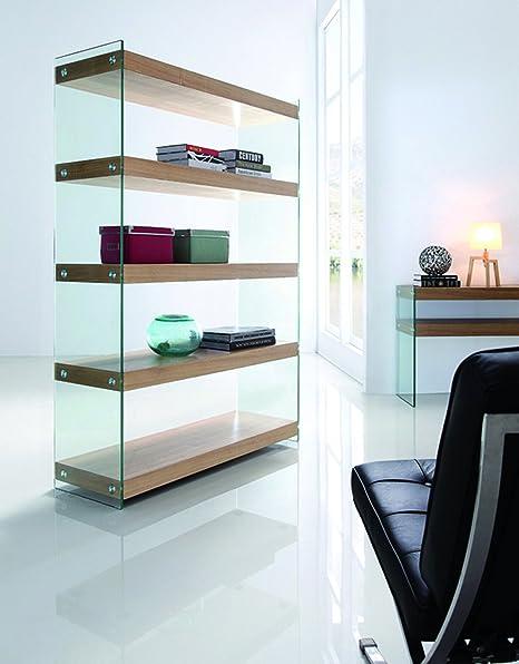 Bibliothèque en verre trempé et MDF, coloris naturel - Dim : L 120 x l 40 x Ht 180 cm - PEGANE -