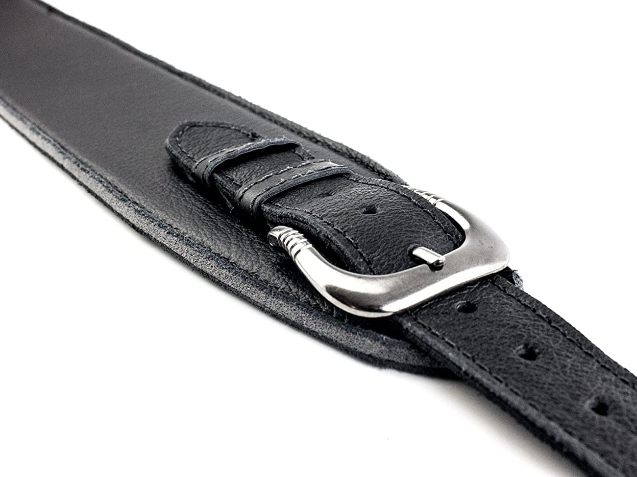 UK Made Black Vintage Extra Wide Soft Real Leather Guitar Strap with Buckle Adjustable Length 3