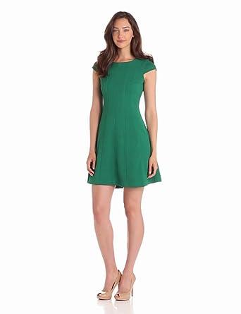 Taylor Dresses Women's Textured Knit Cap Sleeve Dress, Green, 4 Missy