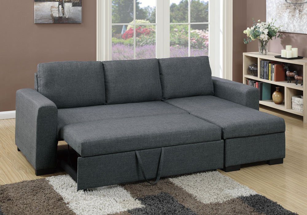 1PerfectChoice Modern 2 pcs Sectional Sofa Pull-Out Bed Under-Seat Storage Blue Grey Polyfiber