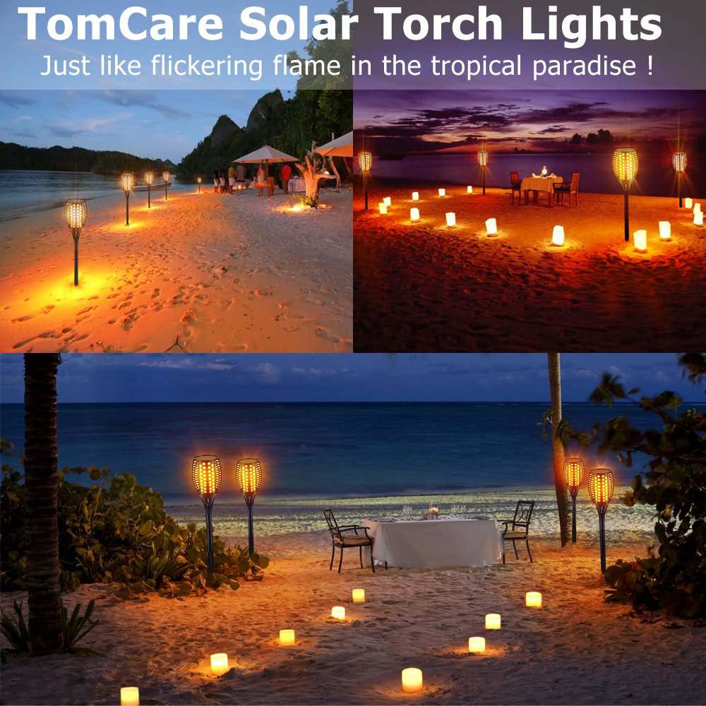 Tomcare Solar Lights Waterproof Flickering Flames Torches