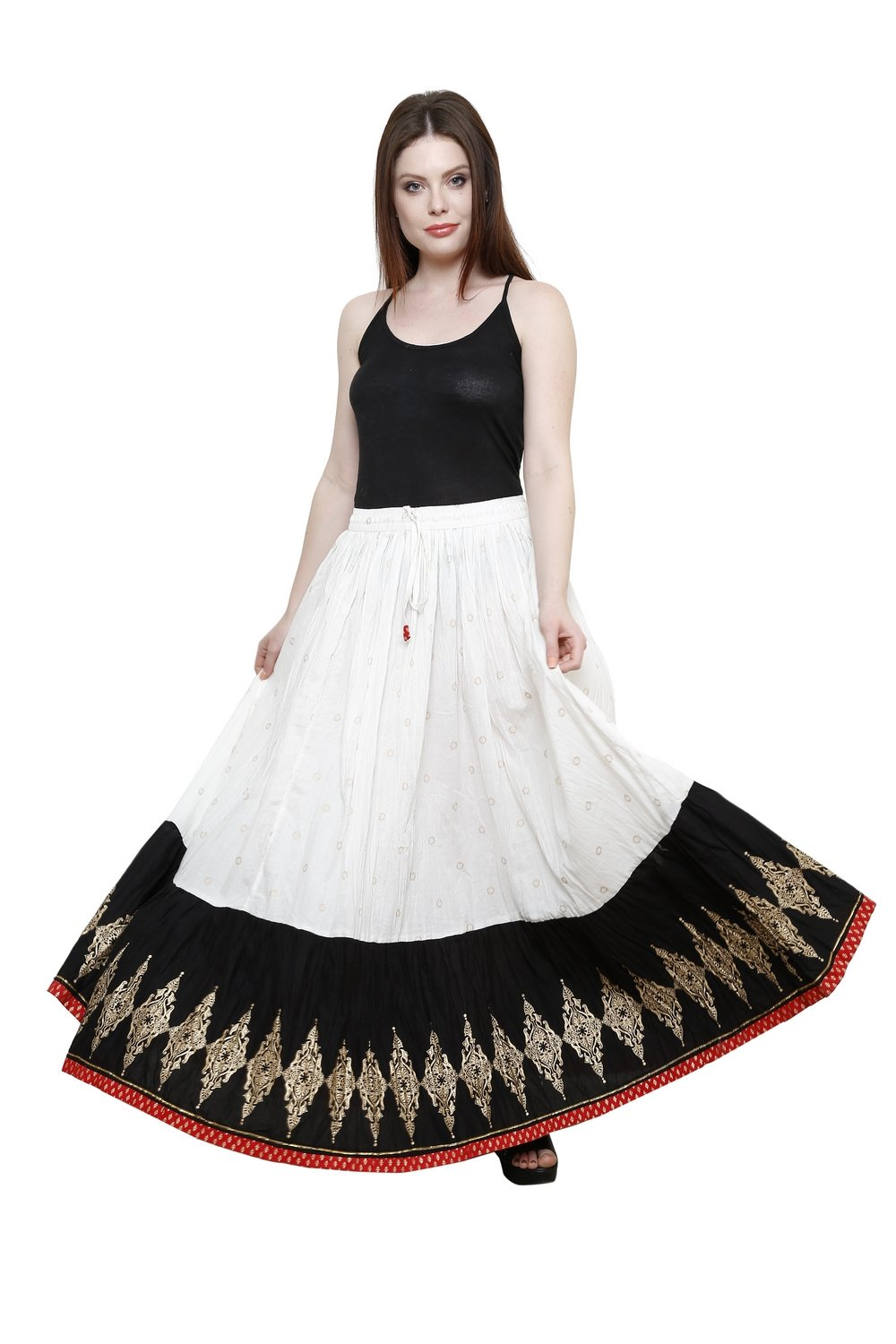 Pistaa Women's Cotton Multi Colour long Designer Flared Casual Hand Block Printed Jaipuri Skirt Bottom