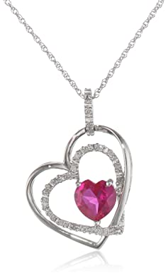10k White Gold Double Heart-Shaped Created Ruby with Diamonds Heart Pendant Necklace, 18