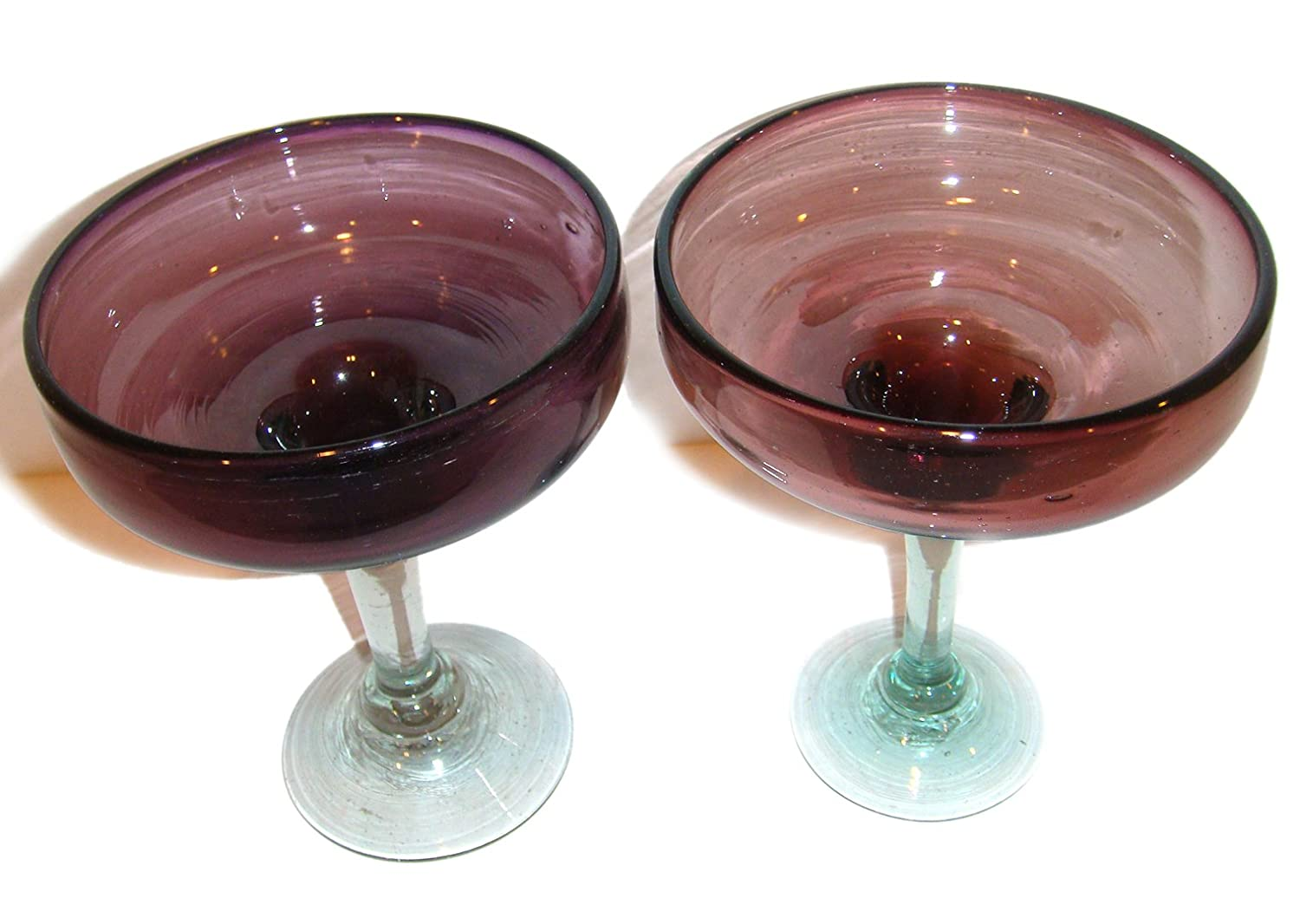 Mexican Hand Blown Margarita Glass Set of 2 Brown Design